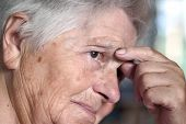 image of senior-citizen  - elderly woman having problem - JPG