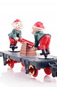 image of caboose  - Toy Elves on Train Caboose With White Background - JPG
