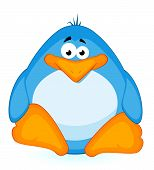pic of cartoon animal  - cartoon little penguin on a white background for a design - JPG
