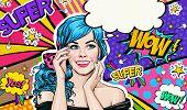Pop Art illustration of blue head girl on Pop art  background.Pop Art girl. Party invitation. poster