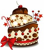 image of birthday-cake  - Big chocolate cake with funny decorations  - JPG