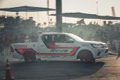 Pick-up Car Perform Drifting On The Track With Motion Blur poster