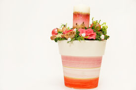picture of rebs  - Christmas reb colored pot with candle and decoration - JPG