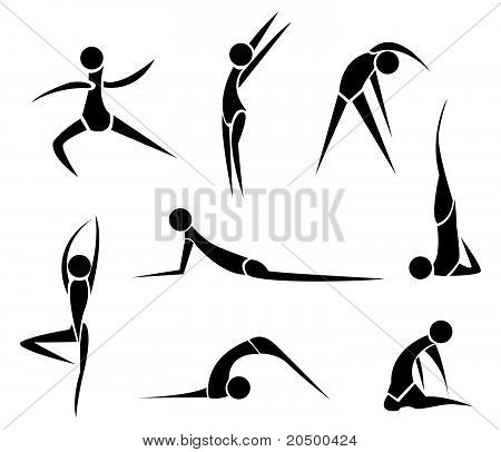 Stylized Yoga people