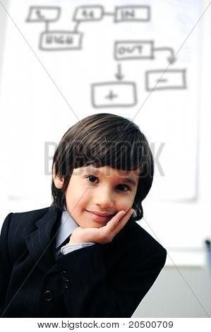 Smart boy making a  presentation