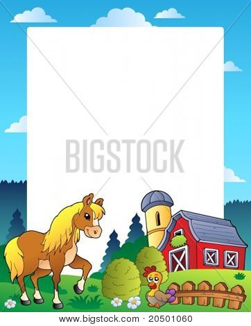Country frame with red barn 4 - vector illustration.