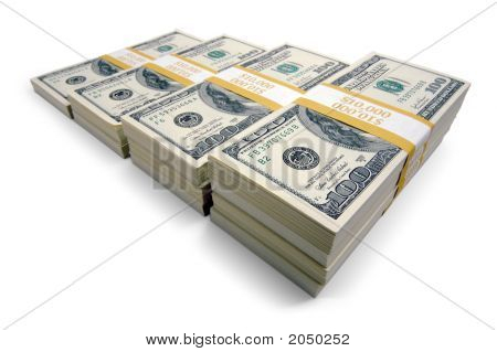 Increasing Stacks Of Ten Thousand Dollar Piles Of One Hundred Dollar Bills