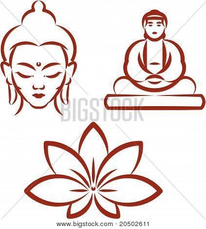 Face of Buddha, sitting Buddha and Lotus