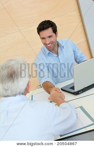 Senior people in job interview