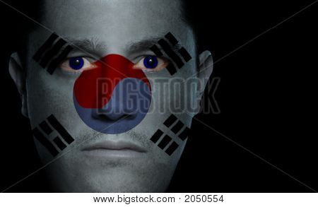 South Korean Flag - Male Face