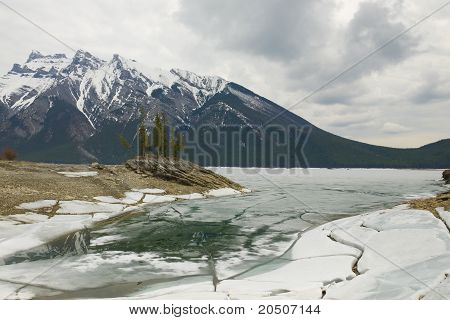 Traquil Scene Of Frozen Lake Minnewanka