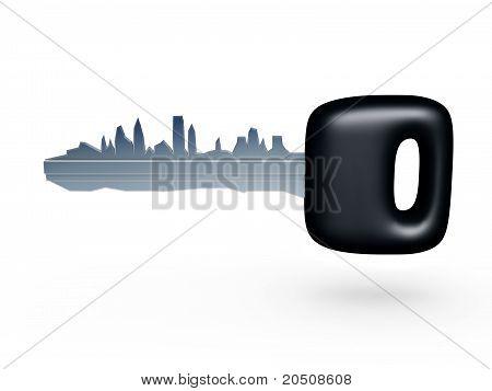 Car Key With City Profile
