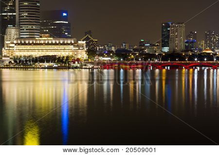 Singapore City Night Skyline