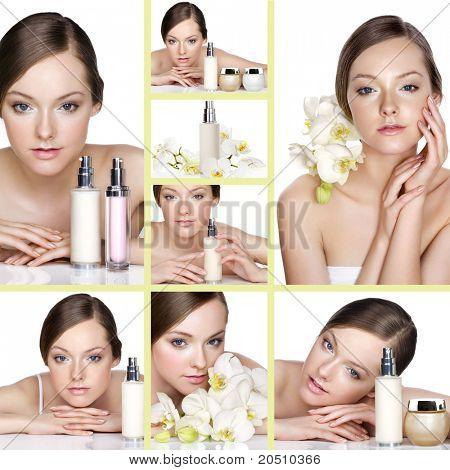 Collage de varias fotos para la industria de salud y belleza