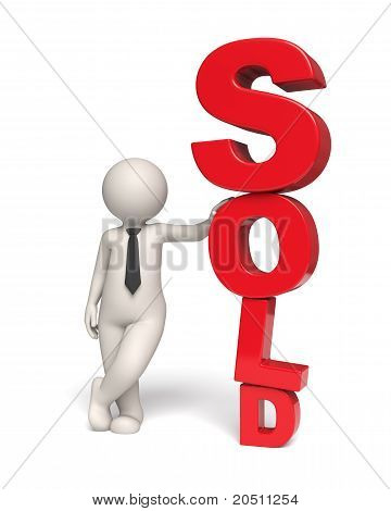 Red Sold Icon - 3D Business Man