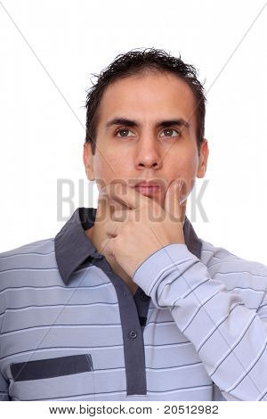 an handsome young man thinking over white background