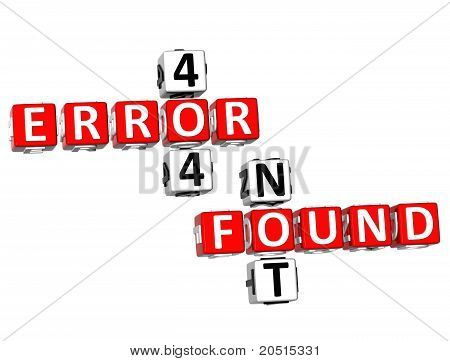 3D Not Found And Error 404 Crossword