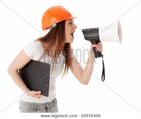 Female Construction Superintendent With Megaphone