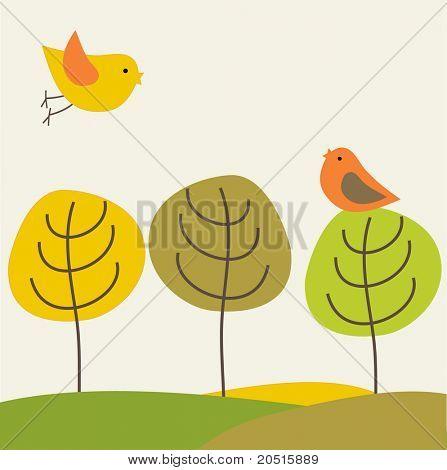 Vögel auf dem Baum. JPEG-version