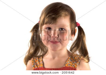 Smiling Little Girl With Ponytails