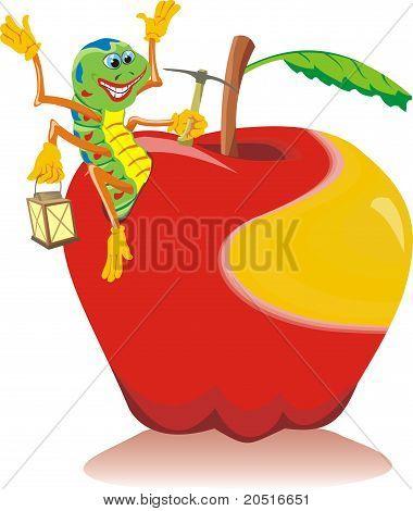 Mature apple - lucky worm