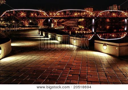 Sidewalk Lit Up Along River