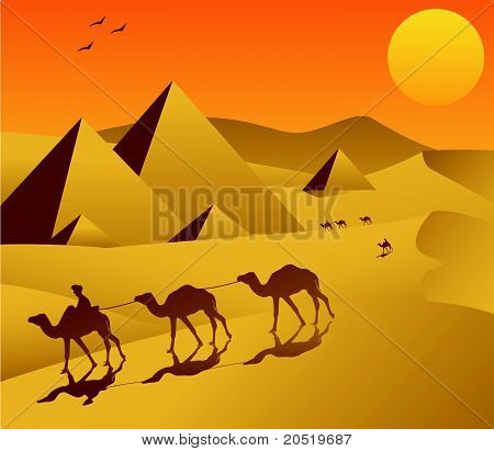 Landscape Sahara and Camel Caravan Vector Illustration