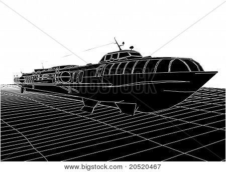 Hydrofoil Speedboat Vector