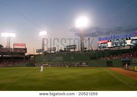 Boston - May 30: The Outfield And Green Monster At Fenway Park At Night On Memorial Day Game Against