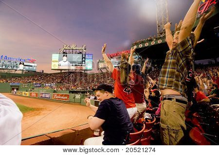 Boston - May 30: Fans Do The Wave At Historic Fenway Park During Memorial Day Game Against The Chica