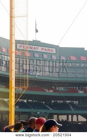 "Boston - May 30: Famous Right Field Foul Pole, Nicknamed ""pesky's Pole"", With Fenway Park Sign In Th"