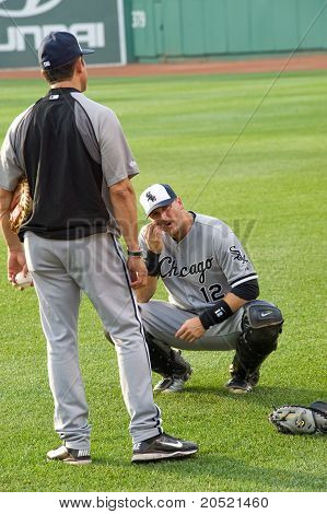 Boston - May 30: Starting Catcher A.j. Pierzynski Warms Up Before Memorial Day Game Against The Red