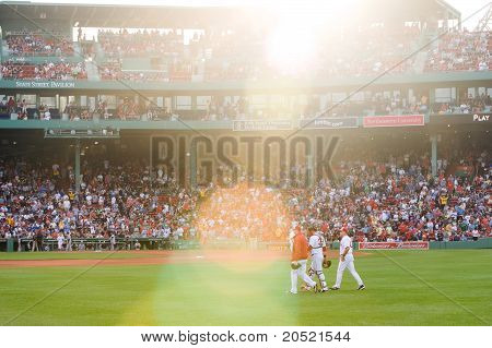 Boston - May 30: Starting Pitcher Jon Lester And Catcher Jarrod Saltalamacchia Make Their Way To The