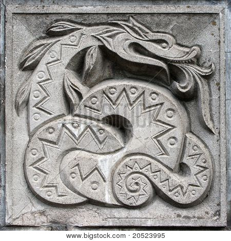Bas-relief Of Fairytale Snake