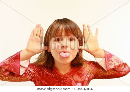 Young girl with funny expression