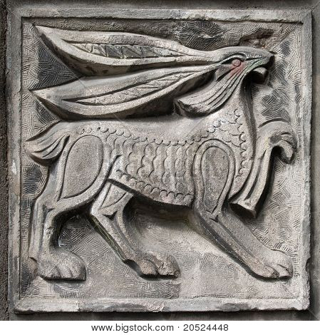 Old Bas-relief Of Fairytale Hare