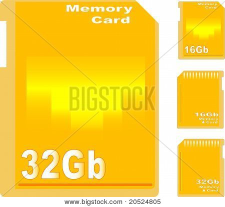 set of golden memory card isolated