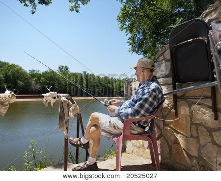 Elderly Man Fishing