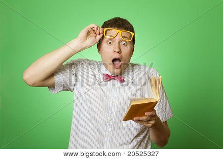 Young man bookworm