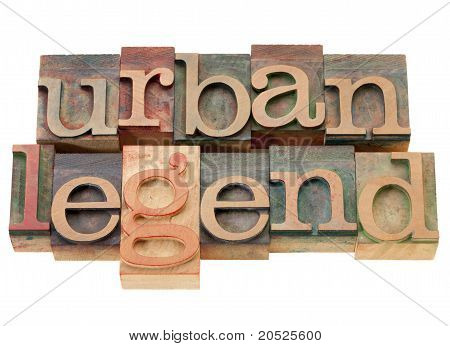 Urban Legend In Wood Letterpress Type