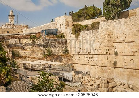 JERUSALEM, ISRAEL. September 15, 2017. A view of the third section of the Western Wall destined for the liberal Judaism denominations. The other two are controlled by the Orthodox Judaism.