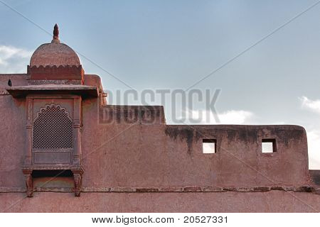 Detailed corner piece of Nagaur's palace in Rajasthan.