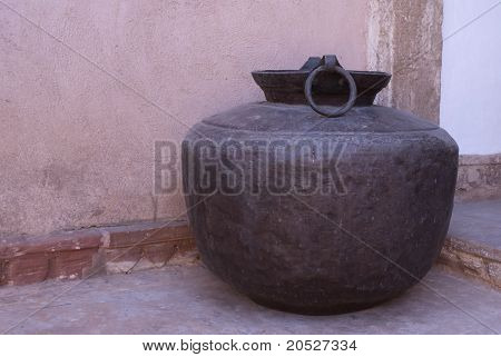 Antique huge water vessel at Nagaur's palace in Rajasthan.