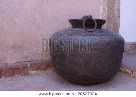 Antique huge water vessel at Nagaur's palace in Rajasthan.