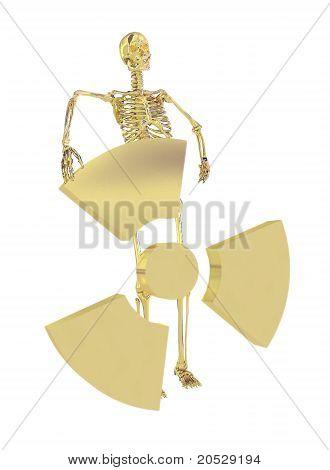 Gold Skeleton And Radiation Symbol Isolated