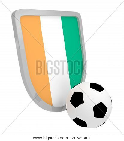 Cote D`ivoire Shield Soccer Isolated