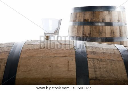 Whiskey Glass On Wooden Barrel