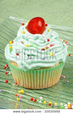 Cupcake With Candied Cherry