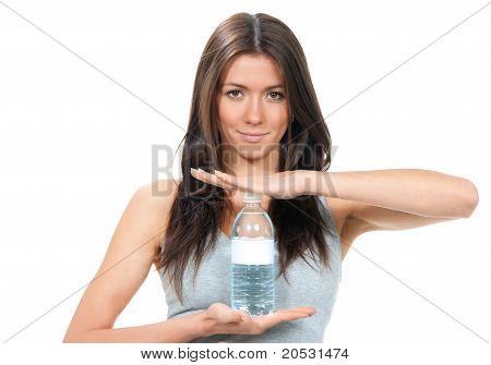 Sport Fitness Woman In Sportswear Holding In Hands Drinking Clear Water