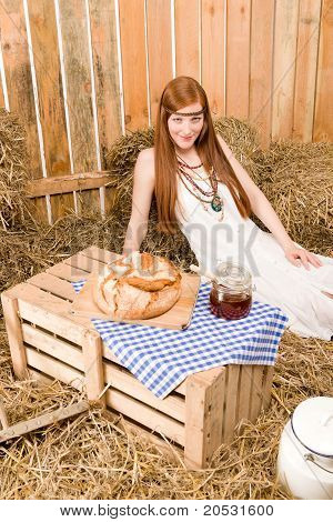 Redhead Hippie Young Woman Have Organic Breakfast
